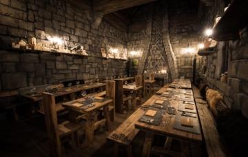 Gedeckte Tische im Restaurant Rutmors Taverne im Phantasialand.