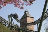 Blick auf die Stahlachterbahn Fluch von Novgorod im Hansa-Park.